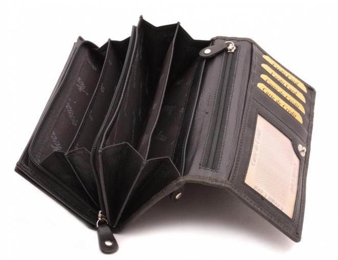 dámska čierna kožená peňaženka Mercucio
