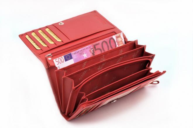 dámska červená kožená peňaženka Mercucio