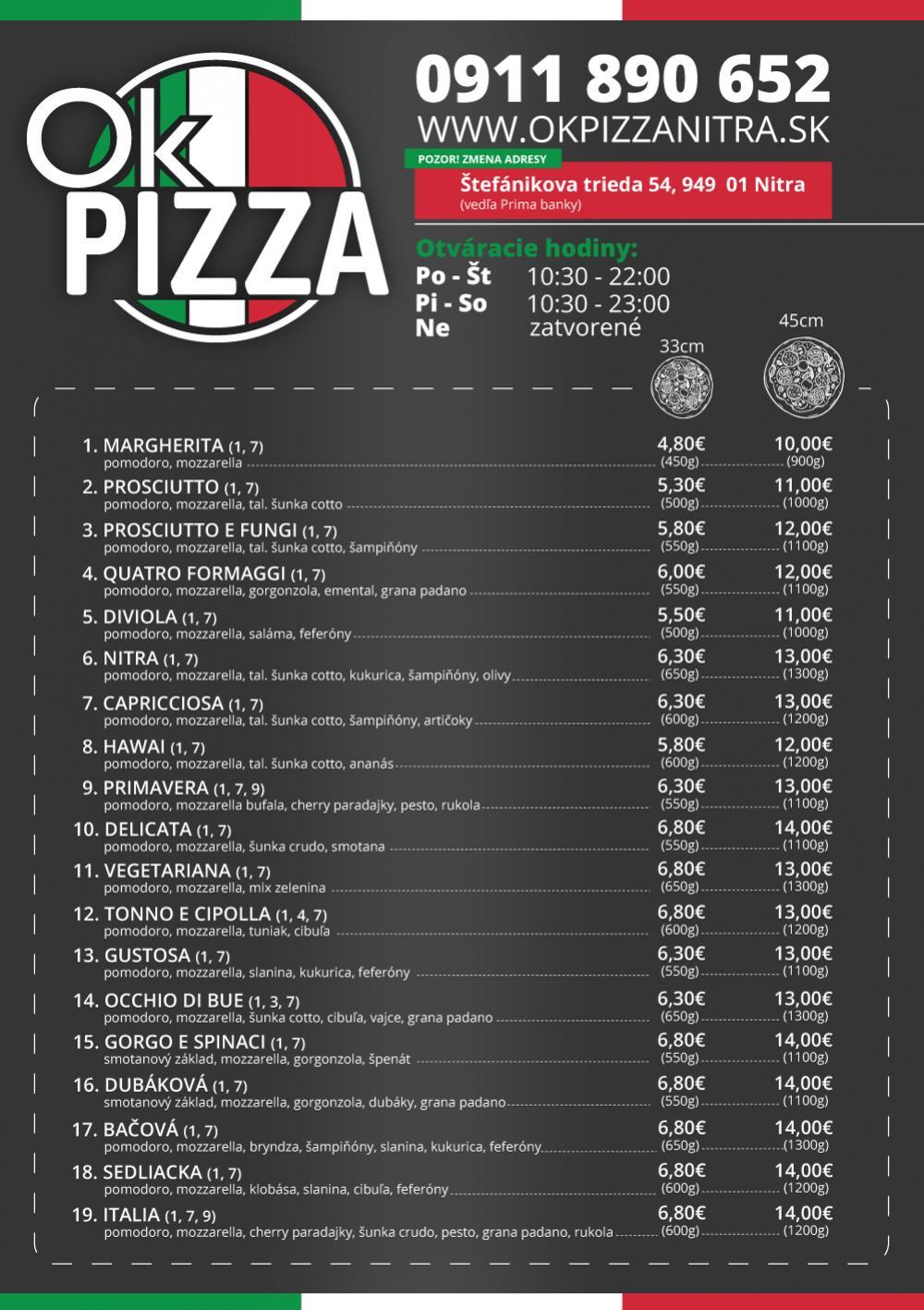 pizzeria nitra OK Pizza Nitra donáška