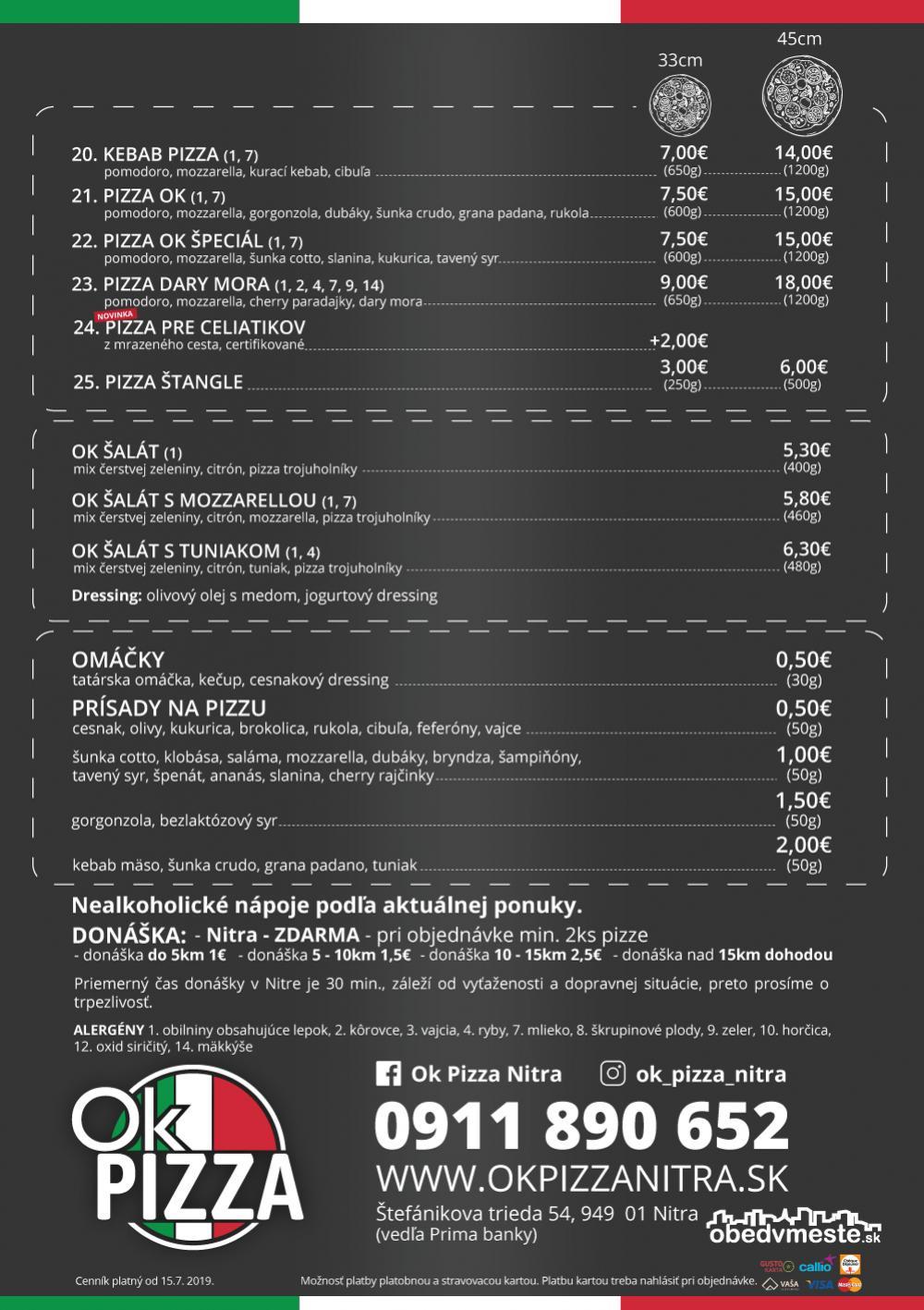 ponuka OK pizza objednavky telefonicky prava talianska pizza