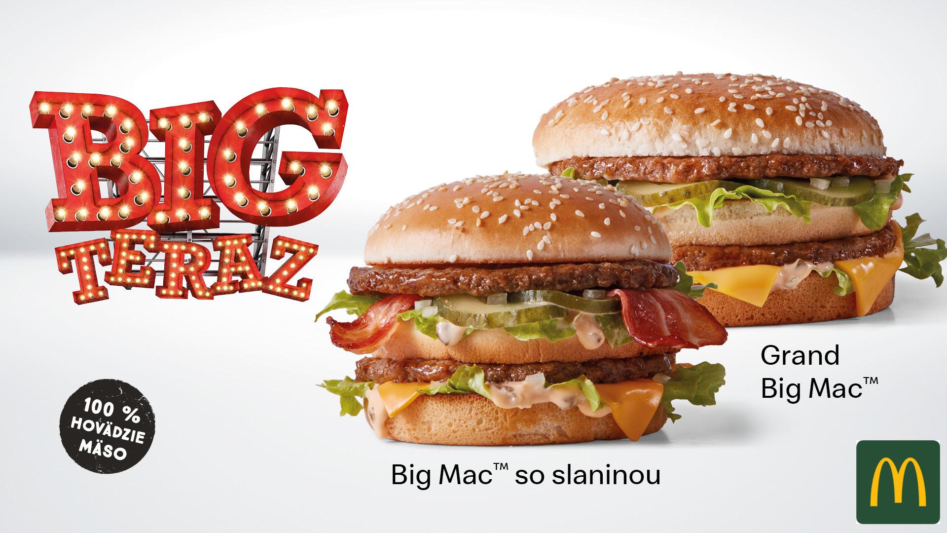 Big Mac je skrátka klasika, ktorú miluje každý, a je rovnaký už viac než 50 rokov. Nedeste sa však, meniť sa nič nebude. Len asi teda potešíme všetkých, ktorí pchajú slaninu skoro všade. Na scénu totiž prichádza teraz a len na chvíľu Big Mac Bacon a ešte väčší a grandióznejší Grand Big Mac.