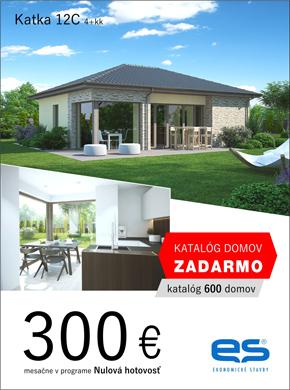 Ekonomické stavby - dom Katka 12C - za 300 eur v programe nulová hotovosť.  Objednaj si katalóg zdarma viac ako 600 domov.