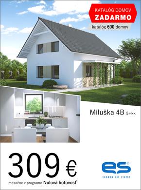 Ekonomické stavby - dom Miluška 4B - za 309 eur v programe nulová hotovosť.  Objednaj si katalóg domov zadarmo (katalóg 600 domov).