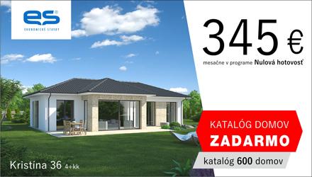 Ekonomické stavby - rodinný dom Kristína 36 len za 345€ mesačne v programe Nulová hotovosť. katalóg domov Zadarmo - objednávajte tu.