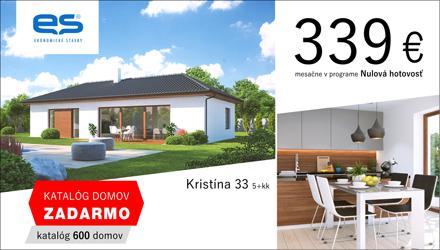 Ekonomické stavby - rodinný dom Kristína 33 len za 339€ mesačne v programe Nulová hotovosť. katalóg domov Zadarmo - objednávajte tu.