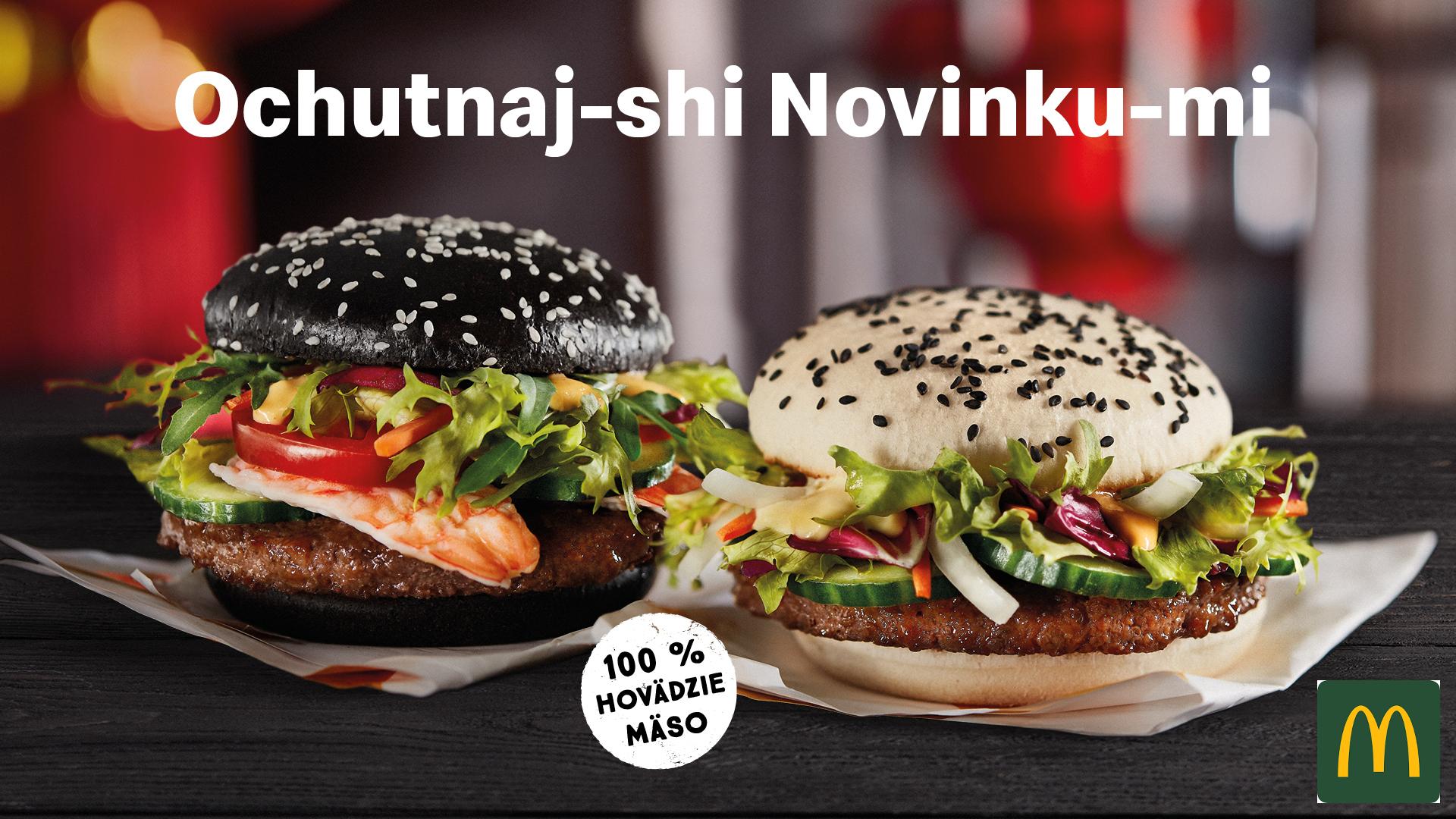 Kreveta-shi a Krava-shi. Dva nové hero burgery, čierny a biely, oba so 100 % hovädzím mäsom, Kreveta-shi ešte s krevetami navyše.