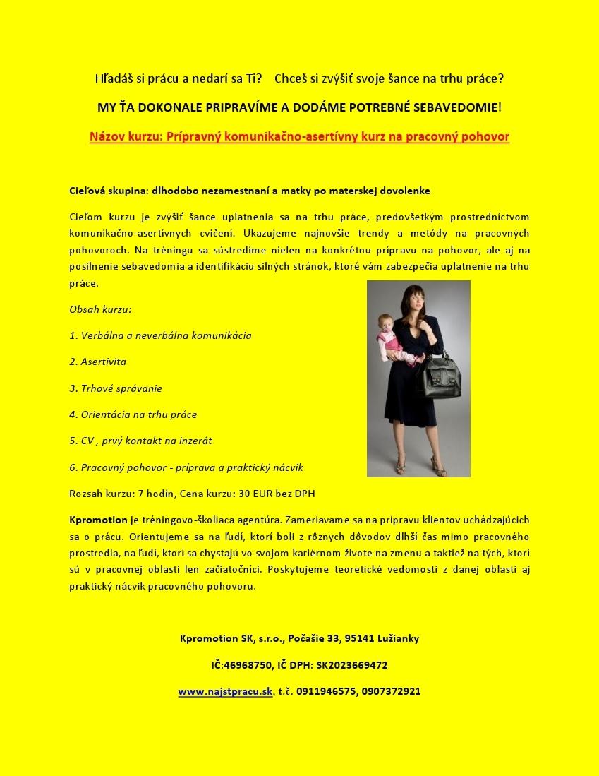 caee734343 Prípravný komunikačno-asertívny kurz na pracovn - Kariéra