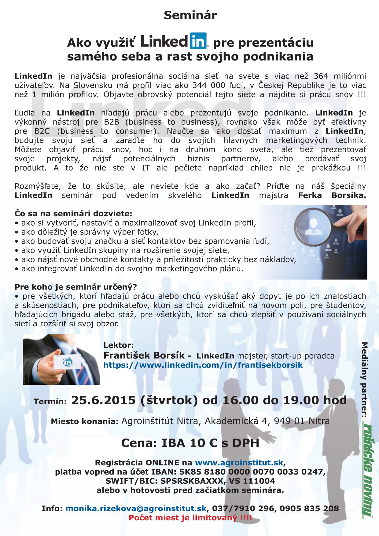 LinkedIn seminár v Nitre - pomôžeme Vám - Katalóg firiem  aa91a02a4d3