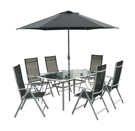 533033789774f Grilovačka či záhradná párty sa môže začať! Zabezpečte si kovovú zostavu so  šiestimi polohovateľnými kreslami, priestranným stolom a slnečníkom pre  vaše ...